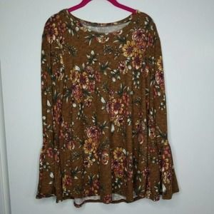 L Veveret Bell Sleeve Top Sweater Tee Floral E